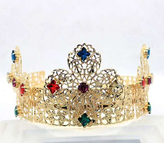 New vintage baroque gold crown and tiara palace colorful metal alloy cross crown designer fashion gold plated jewelry(China (Mainland))