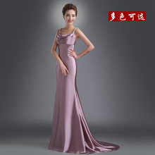 New luxury mermaid evening long gowns sweetheart spaghetti strap backless floor length count train faux silk evening dress 743(China (Mainland))