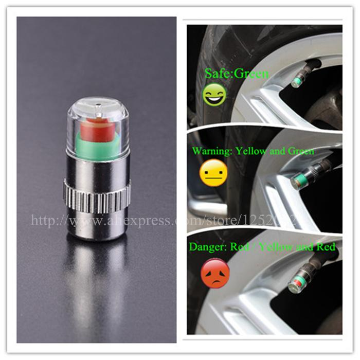 4pcs/Lot 2.2 bar 32PSI tire pressure,car tire Monitor pressure gauge,Cap Sensor Indicator 3 Color Eye Alert air pressure gauge(China (Mainland))