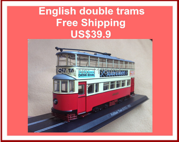 English double trams Feltham Tram (UCC)-1931 tram model, classic model, toys, collection, steam tram rails Vintage train(China (Mainland))