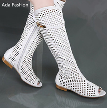 2016 new summer sexy women boots high quality soft PU leather open-toed sandals fashion round hole shoes plus size 34-43