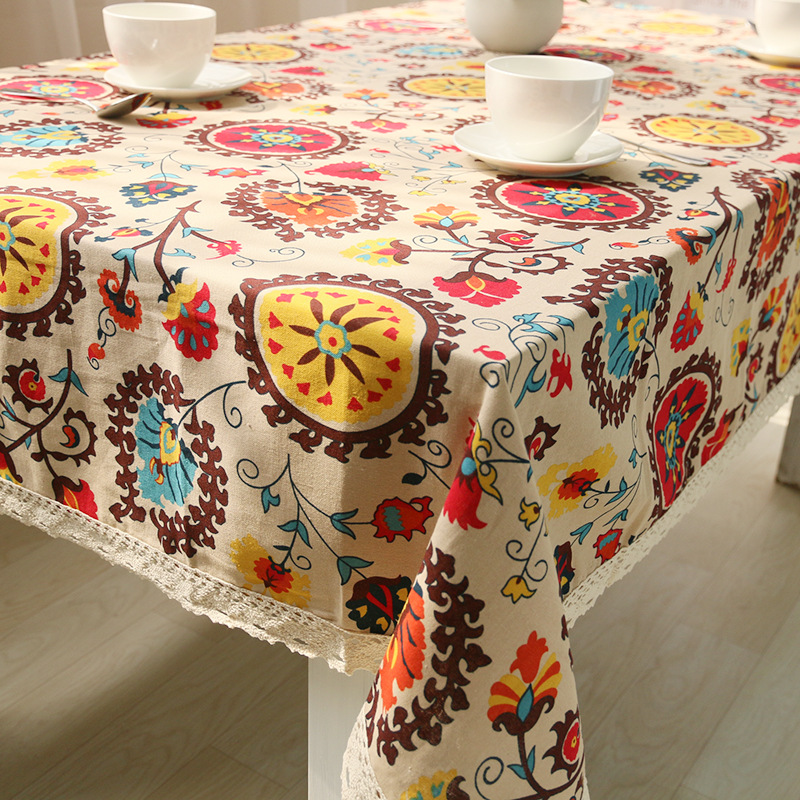 Hot sale National wind explosion models Classic cotton linen tablecloths Sun flower table cloth high-quality tablecloth LRLT018(China (Mainland))