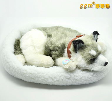simulation animal about 28cm husky dog plush toy breathing snoring dog with mat ,birthday gift w5906(China (Mainland))