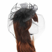 Delicate Wedding Fascinator Veil Feather Hard Yarn Headband Hats Women Brides Hair Accessories May28 Hot Selling(China (Mainland))