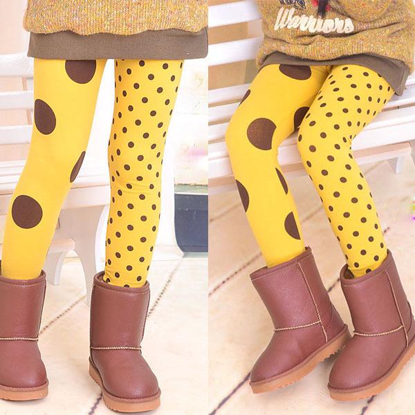 New 2 Colors Kid Girl Tights Stretch Leg  Pant Trousers Polka Dots LeggingsFree&Drop Shipping