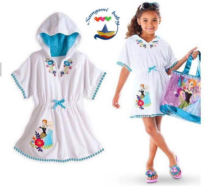 Cinderella Girls fashion summer dress loose hooded white dress baby girl`s lovely cartoon flower onepiece dress(China (Mainland))