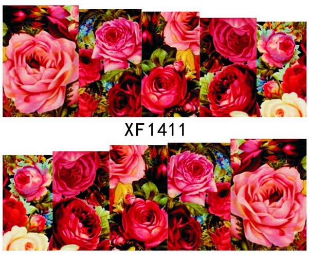 2015 MUST HAVE!!! Hot Sexy Red Rose Blossom Nail Art Decorations Fancy Flores Nails Sticker Wedding Bride Decals XF141101(China (Mainland))