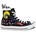 Wen Hand Pained Shoes Custom Design Sally Jack Skellington Nightmare Before Christmas High Top Men Women