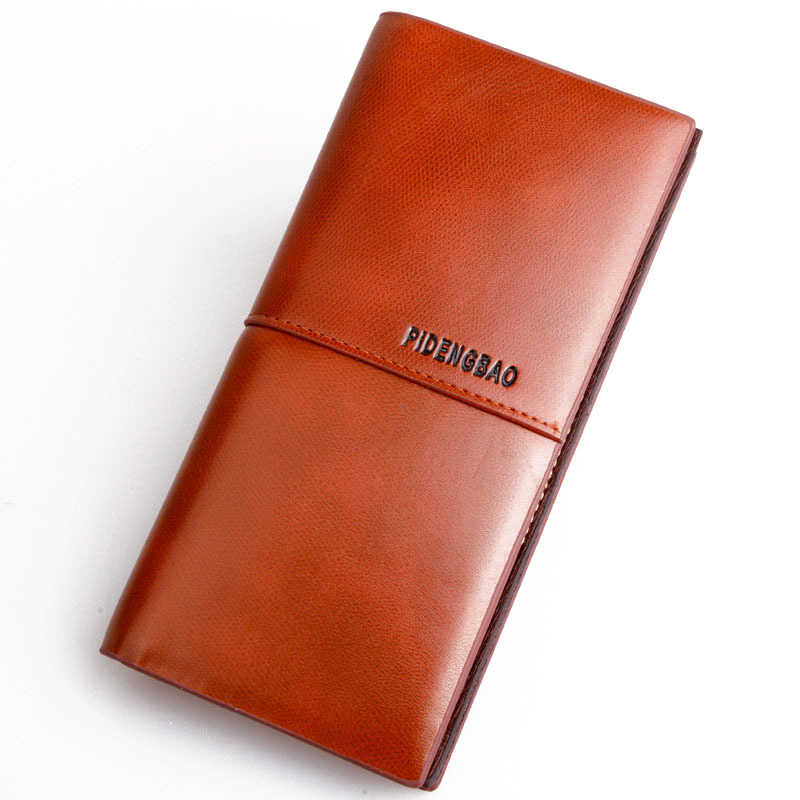 New fashion Cowhide genuine leather Unisex clutch men Wallets Oil waxing leather long wallet ladies coin