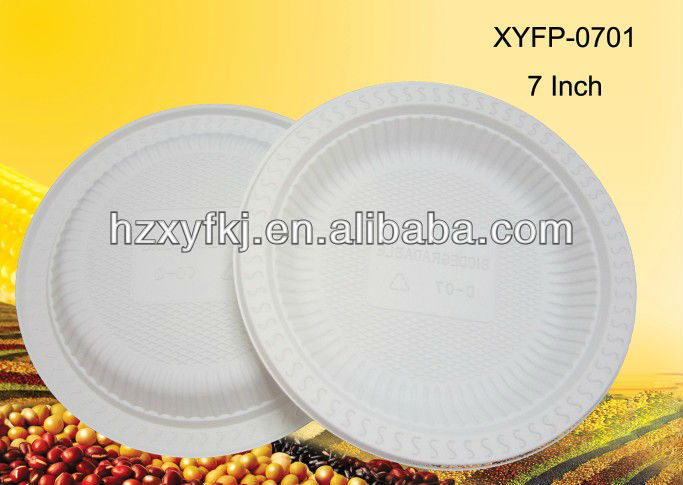 Cornstarch biodegradable disposable plastic 7 inch round dinner plates, cake dish with 1000pcs(China (Mainland))