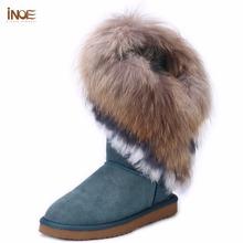 INOE ribete de La Moda real de piel de zorro conejo grande muchachas de la vaca genuina borlas de cuero de alta botas de nieve para las mujeres botas de invierno zapatos de los planos(China (Mainland))