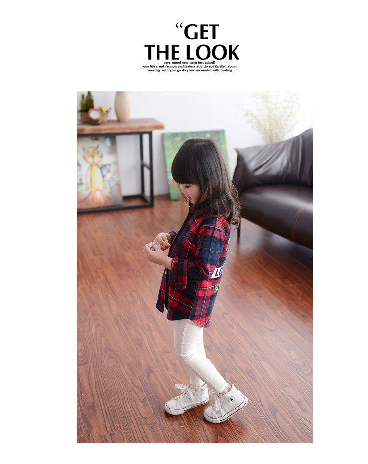 Grils Clothing 2016 Korean Version  Plaid Long Section Children's Wear Long-sleeved Shirt Lapel