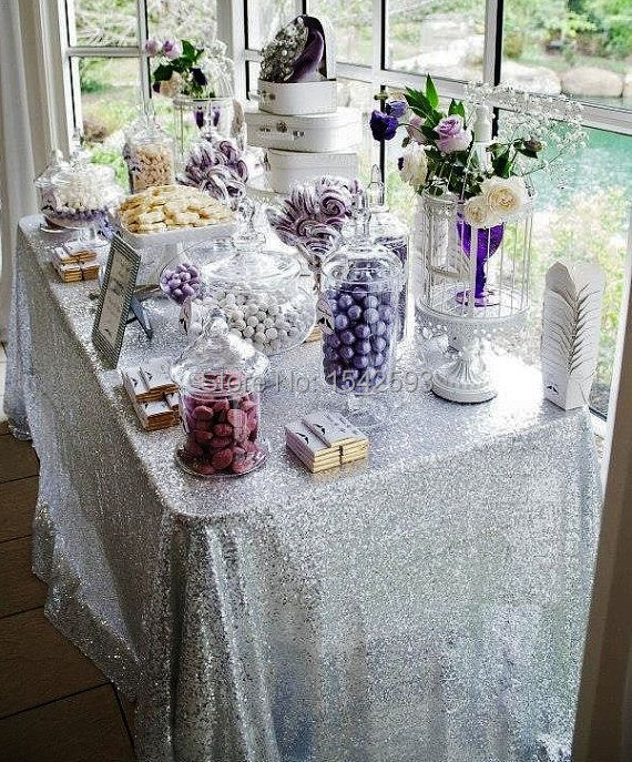 Free Shipping 72''*72'' Silver Sequin Table Overlay / Linen / Cover For Wedding Decoration / Party(China (Mainland))