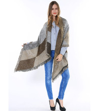 2015 Oversize Tartan Shawls Wraps with Tassels Grey Thick Warm Winter Women Plaid Pashmina Cashmere 190X65CM