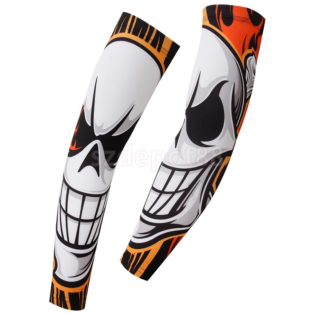 1 Pair Flame Skull Print Cycling Bike Bicycle Golf Armwarmers Arm Warmers Cuff Sleeve Cover Anti UV Protection Oversleeves(China (Mainland))