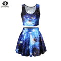 Beautiful Galaxy Space Print 2 Piece Set New Arrival Women Ball Gown And Vest Womens 2