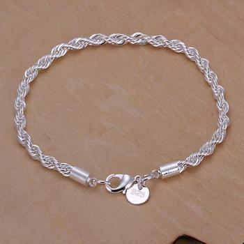 Красивая элегантный 925 чистое серебро подвески веревка прекрасный браслет великолепная ...
