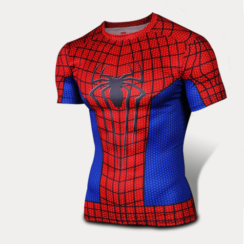 NEW 2016 Marvel Comics super hero Spiderman men T-shirt sports Tight quick-drying Elasticity Perspiration T-shirt s-4xl(China (Mainland))