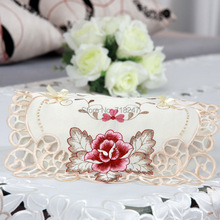 New Fashion High Quality Elegant Polyester Satin Embroidery Tissue Box Cover Embroidered Cutwork Pumping Napkin Box Cover 518(China (Mainland))