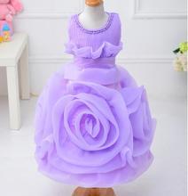 children clothing Latest achieve noble purple girl dresses, oversized 3D Rose Flower girl dress layered design. tutu Dress..