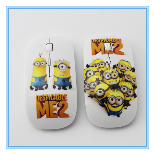 Cartoon Minions Despicable Me 2 Slim 2.4 Ghz 10M Wireless Mouse 3D MINI USB Gamer Mice 1600 DPI for Desktop Computer Laptop PC(China (Mainland))