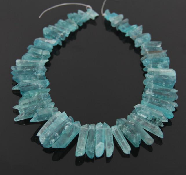 85pcs/str Natural Rough Blue Quartz Crystal Point Pendant Beads,Drilled Briolettes Fashion Women Jewelry Necklace 5-8X14-33mm