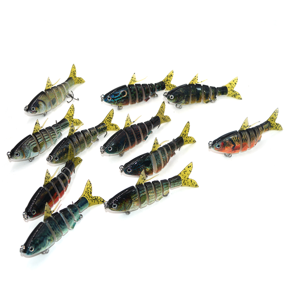 Mixed color 10 pcs 6 Sections hard Fishing Lure Realistic artificial multi segments vivid swimming baits crocodile  4 inch 16 g<br><br>Aliexpress