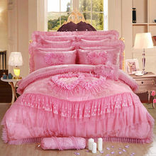 10pc/6pc Lace heart princess wedding bedding sets queen king size duvet cover +quilted bedcover+pillow sham+cushion pink red(China (Mainland))