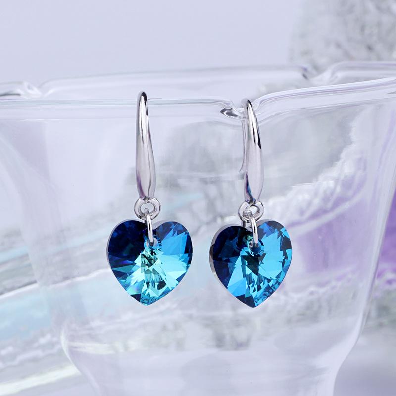 Korea Ocean Blue Heart Crystal Silver Jewelry Women's Long Trade 925 Sterling Silver Earrings Bling Crystal(China (Mainland))