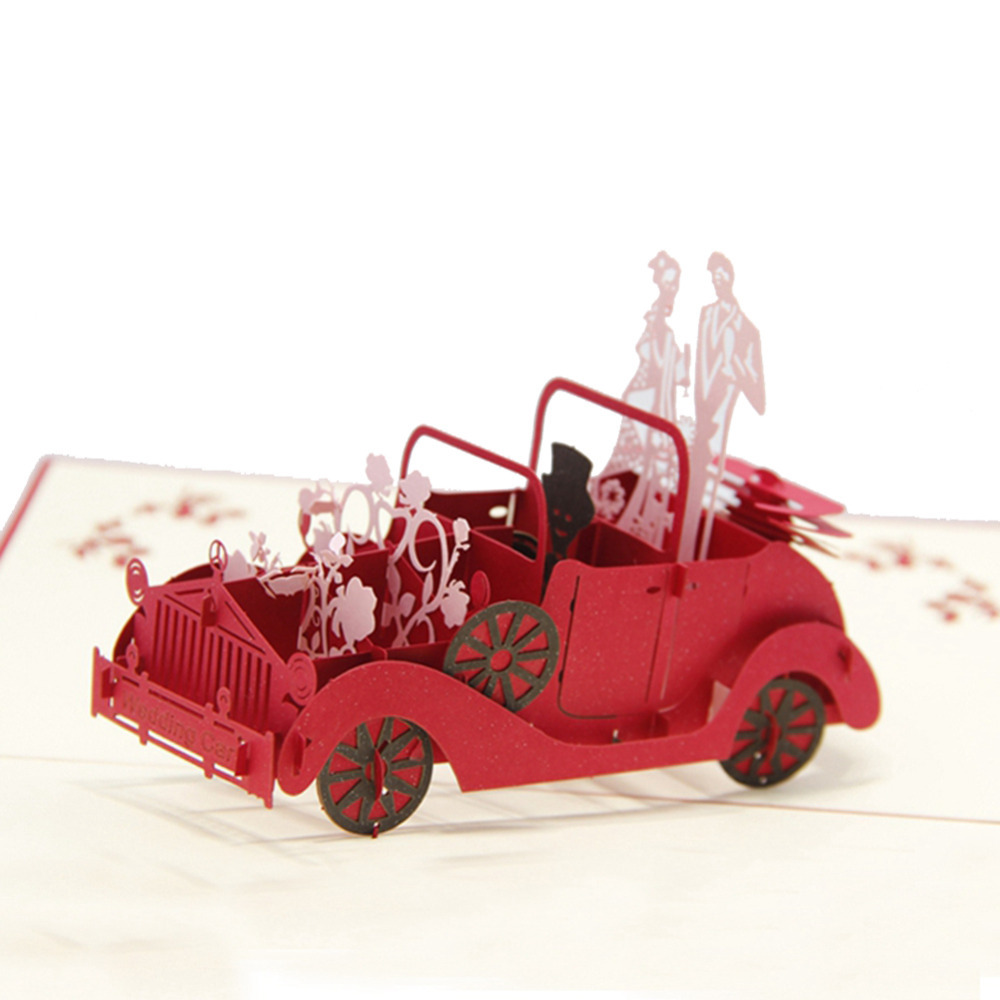 Red 3D Wedding Carriage with Lovers Personalized Handmade 3D Greeting Cards POP UP Cards 10pcs Free Shipping<br><br>Aliexpress