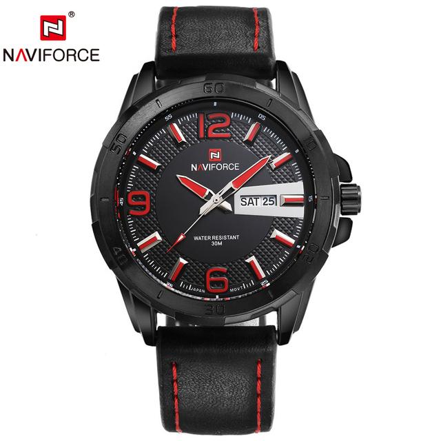 Naviforce календарная 9055 роскошный кварцевые часы мужская кожаный ремешок дата часы мужской мода свободного покроя военные наручные часы Relogio Masculino