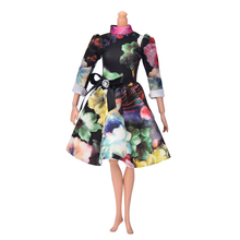 """Beautiful Handmade Party Clothes Dress for 9"""" Barbie Doll Mini Big Flover Print Doll Evening Dress(China (Mainland))"""