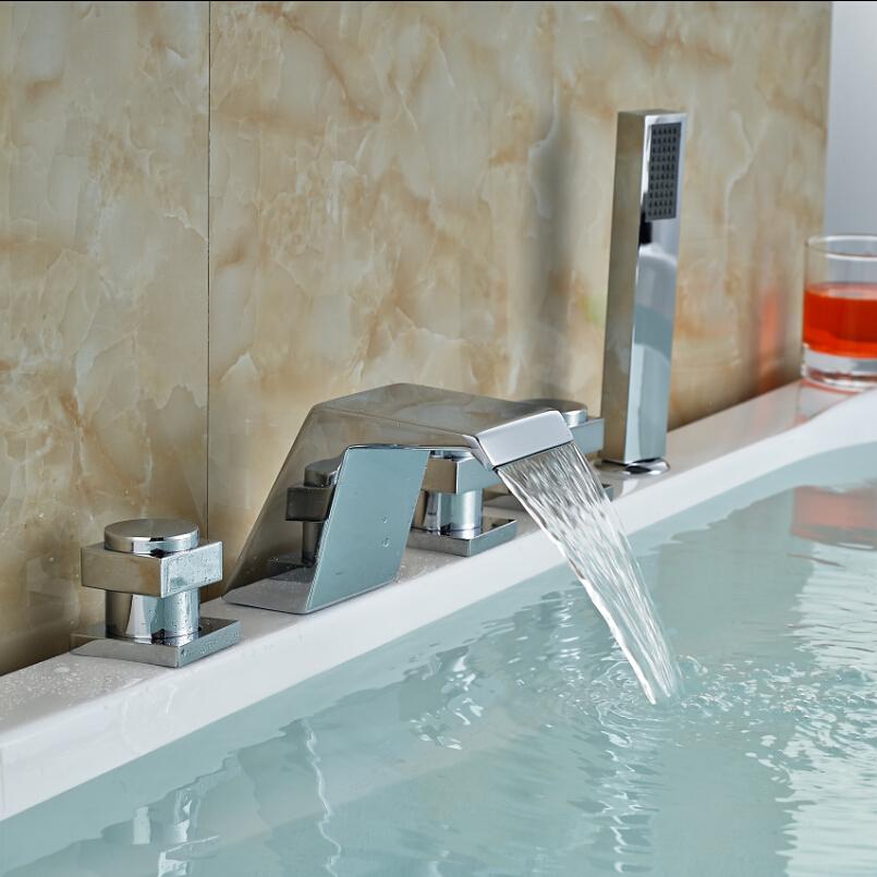 Фотография Deck Mount Widespread 5pcs Bathtub Faucet Waterfall 3 Handles Mixer Tap with Hand Spray Polished Chrome Finish