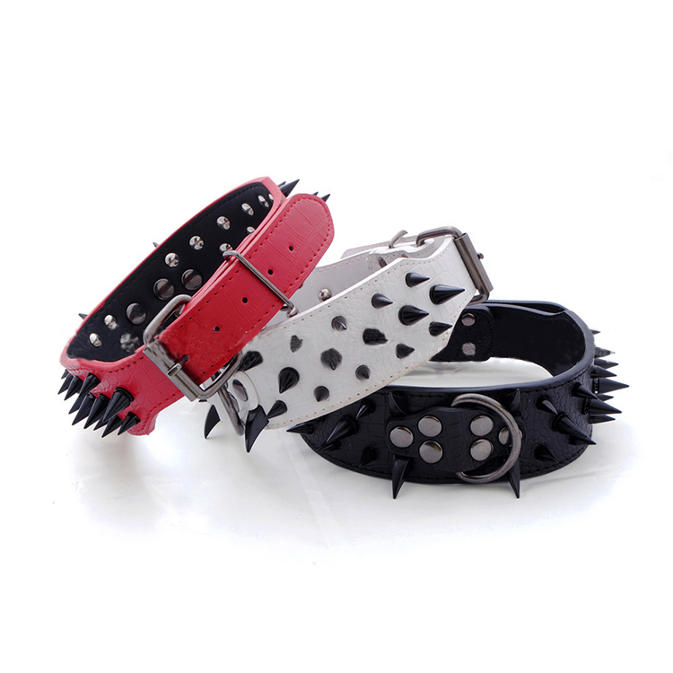 Free Shipping Hot Sales New Leather Rivet Collar Four Colors Solid Nail Sharp Spiked Studded Leather Dog Collars 4 Sizes(China (Mainland))