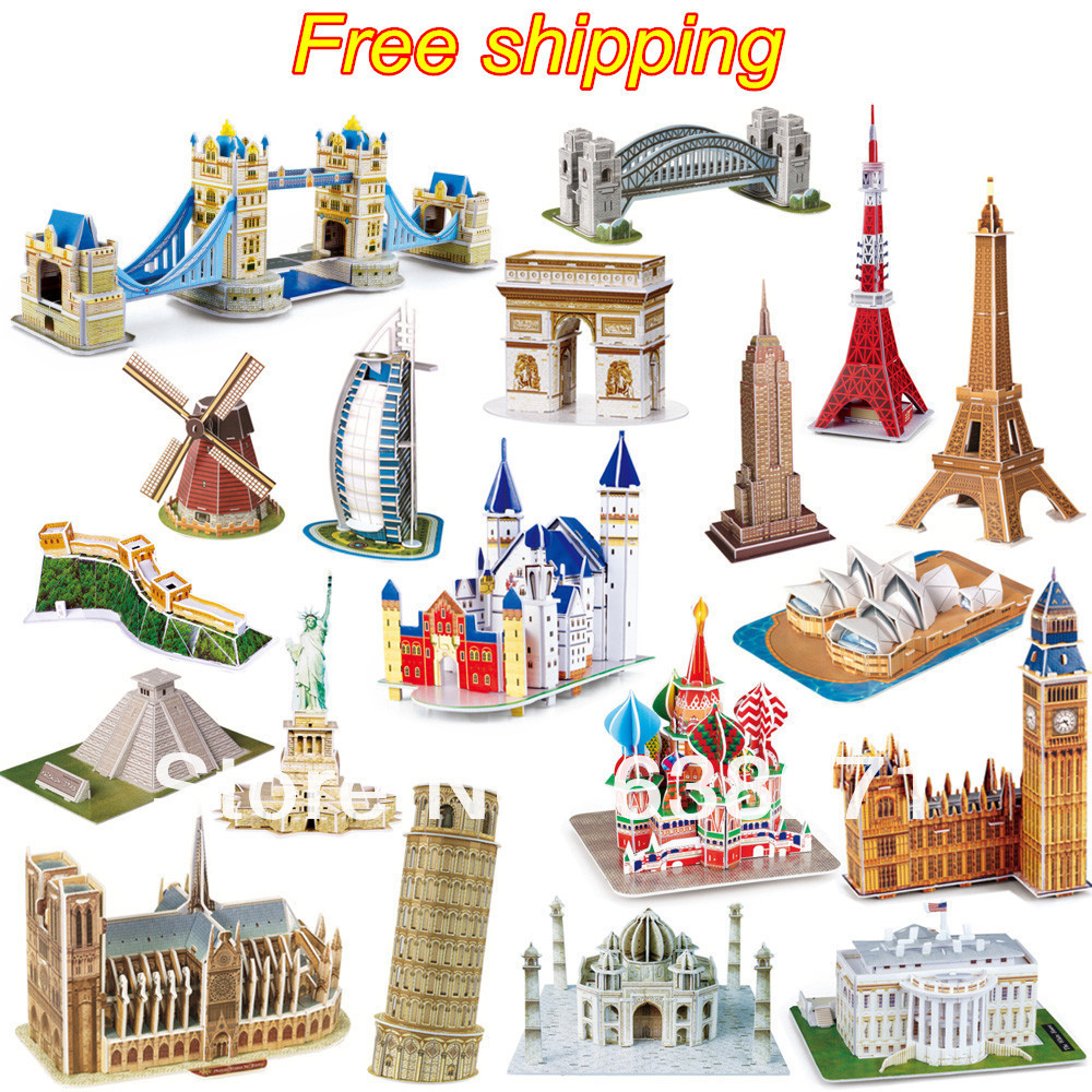 Hot Selling Magic 3D Puzzle Kids Educational Toys DIY Paper Puzzles Jigsaw For Children Adults House Castle Famous Building(China (Mainland))