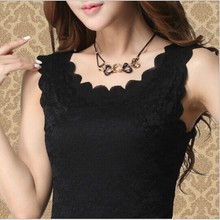 2015 New Summer Fashion lady Lace tank Top women tank top lace O-neck Slim tank top Free size Lace Bottom top  for women YB 023(China (Mainland))