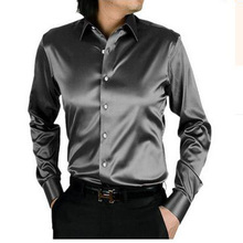 2017 с длинным рукавом шелковый мужчины повседневная рубашка тонкий плюс размер плюс размер мужчины свадебное платье рубашки мягкие случайные свободную рубашку мужчины(China (Mainland))