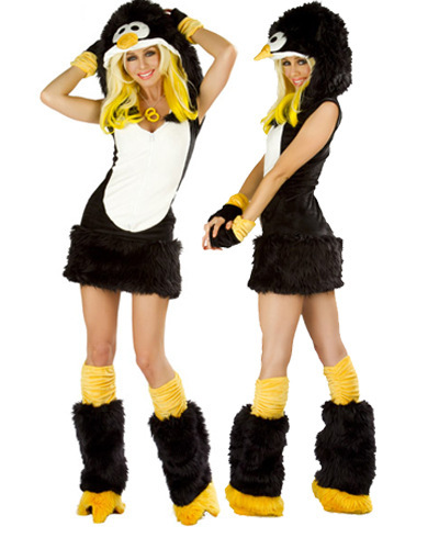 Free Shipping Halloween Costume Sexy Animal Costume Adult Penguin with Leg warmer Costume Women Cosplay(China (Mainland))
