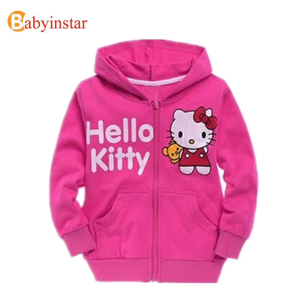 Baby girl jacket hello kitty cartoon hoodies kids thick cotton outerwear children clothing 2016 hot sale spring autumn(China (Mainland))