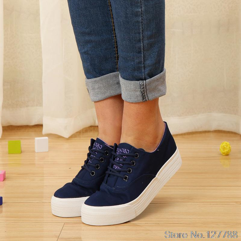 Far wave authentic solid color canvas flat shoes Korean tidal thick crust muffin shoes to help low women sneakers #B1754<br><br>Aliexpress