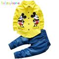 babzapleume Brand Spring Autumn Kids Boys Clothes Cartoon Mouse Shirt Pant 2PCS Set 0 4T Toddler