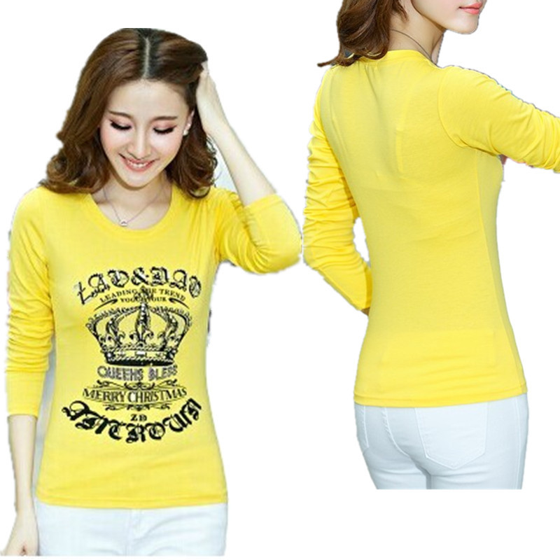 Long Sleeve Women T Shirts Cotton Yellow Tees Tops Diamond