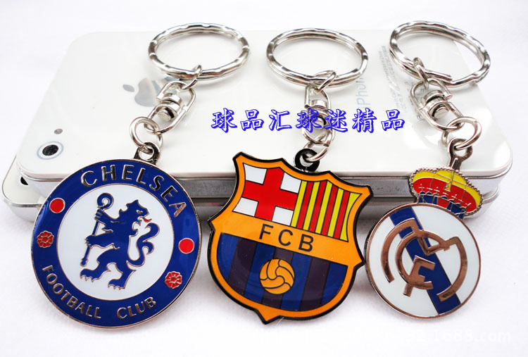 FREE SHIPPING BY DHL 200pcs/lot 2015 New Zinc Alloy Enamelled Football Club Key Chains Metal Soccer Barcelona Keyrings for Fans(China (Mainland))