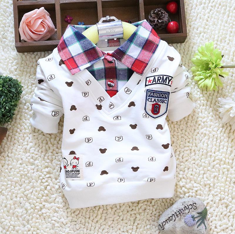 2015 spring autumn baby boy long sleeve t shirts Little bear cartoon plaid lapel cotton boy