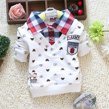 Spring Autumn Baby Boy Long-Sleeve T-shirts Little Bear Cartoon Plaid Lapel Newborn Cotton Boy Clothing Tees Kids Clothes