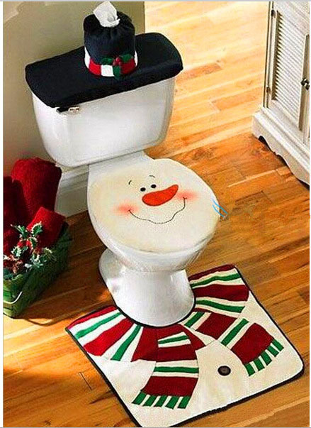 2015 new xmas snowman toilet seat cover rug bathroom mat set christmas decorations in. Black Bedroom Furniture Sets. Home Design Ideas