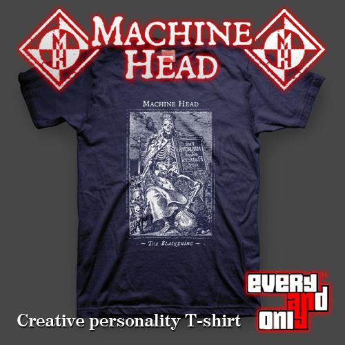 Machine head band mechanical the blackening short-sleeve T-shirt black(China (Mainland))