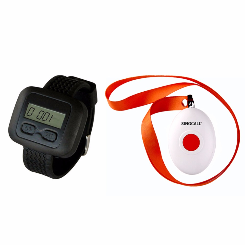 SINGCALL Wireless Nursing Call Paging System,1 Watch Receiver with a Button Bell,APE6600 and APE160(China (Mainland))