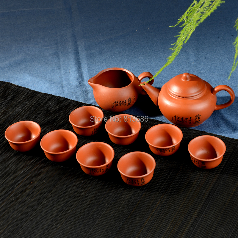 Purple Clay Teaset Yixing 1pc Teapot 8pc Tea Cup Kungfu Tea Set