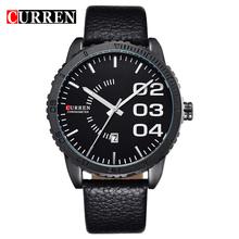 CURREN 8125 Stylish Waterproof Quartz Business Men's Watch with Calendar & Leather Strap Men Casual Sports Watches